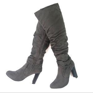 Diba Grey Bow Tie Knee High Heeled Boots